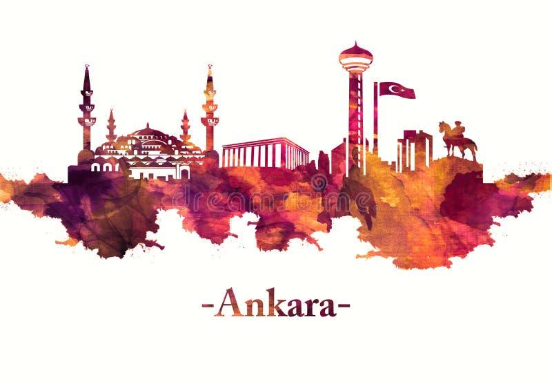 在红色的安卡拉土耳其地平线 向量例证
