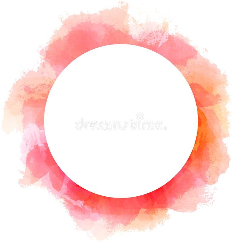 在红色的抽象水彩圈子背景 刷子与圈子白色拷贝空间的冲程例证 皇族释放例证
