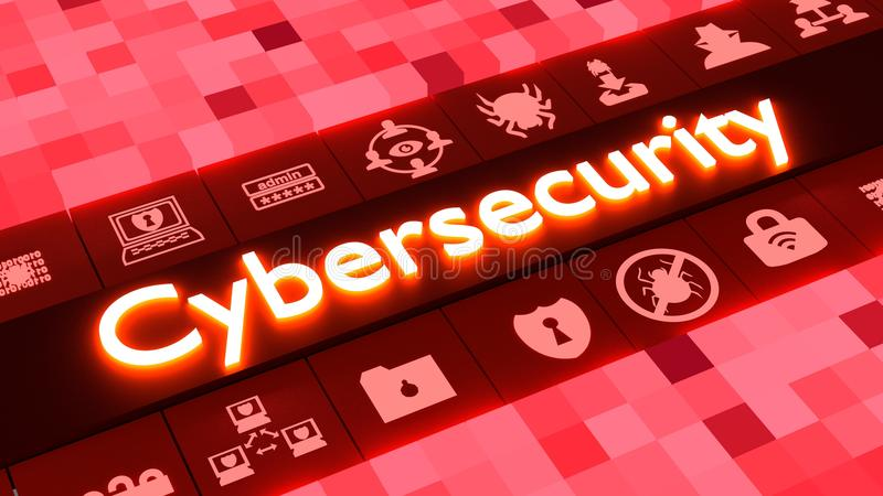 在红色的抽象cybersecurity概念与象 向量例证