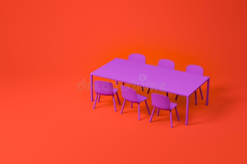在红色的紫色餐厅家具集合 向量例证