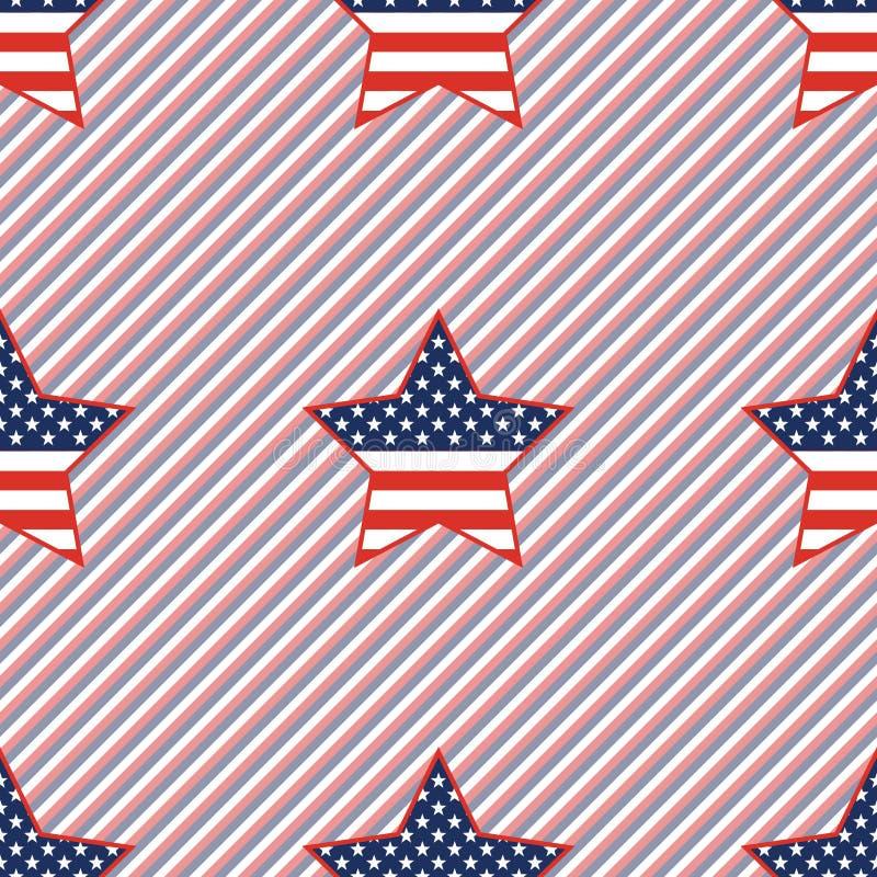 在红色的美国爱国星无缝的样式和 皇族释放例证