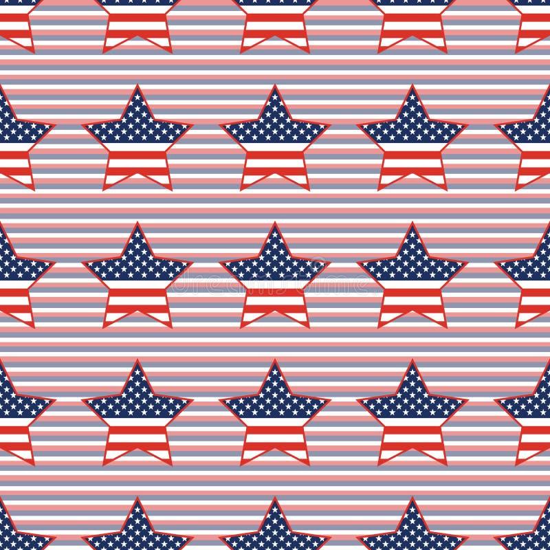在红色的美国爱国星无缝的样式和 库存例证