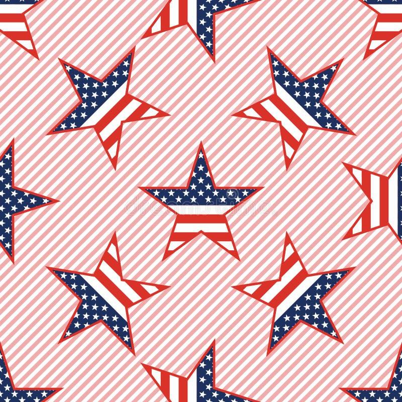 在红色的美国爱国星无缝的样式 皇族释放例证