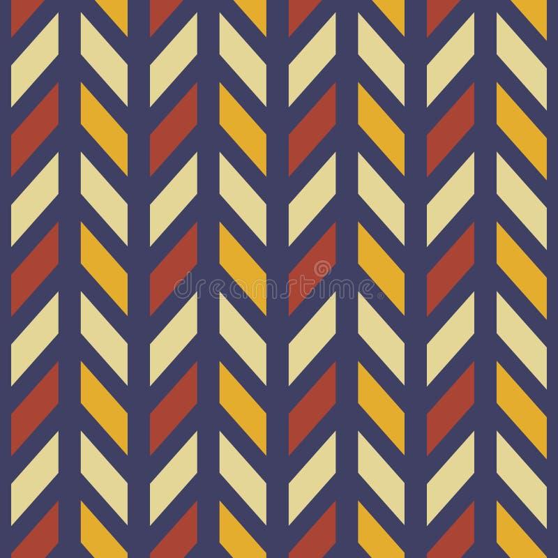 在红色的葡萄酒减速火箭的样式几何V形臂章之字形无缝的样式,黄色,包裹的,织品,背景海军颜色 向量例证