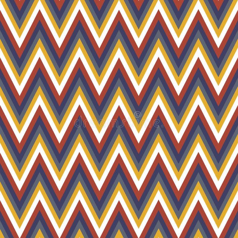 在红色的葡萄酒减速火箭的样式几何V形臂章之字形无缝的样式,黄色,包裹的,织品,背景海军颜色 库存例证