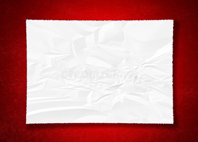 在红色的被弄皱的纸 库存照片
