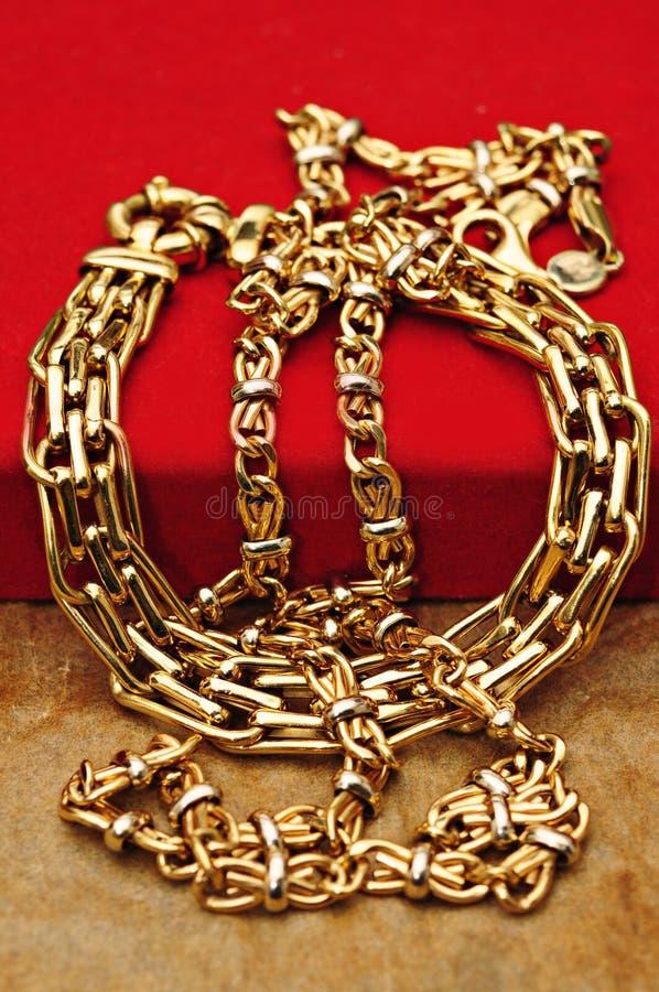 在红色的金珠宝 免版税库存照片