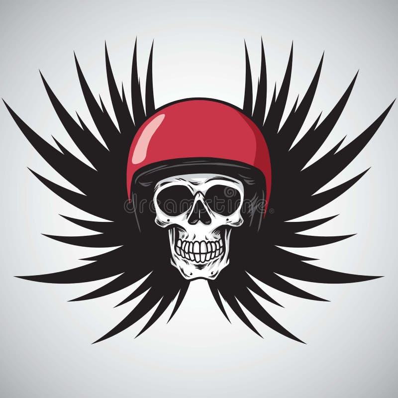 在红色盔甲黑色翼的竟赛者头骨 象征的,海报, T恤杉设计元素 也corel凹道例证向量 向量例证