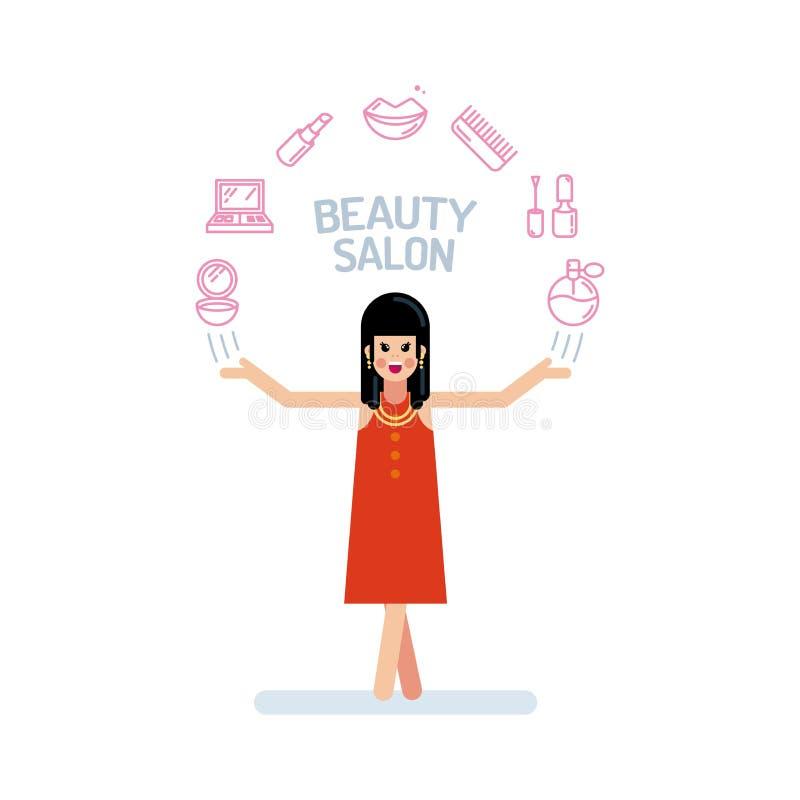 在红色礼服的一个美好的夫人或妇女字符用他的手 美容院象在头上的一个半圆被安排 向量例证