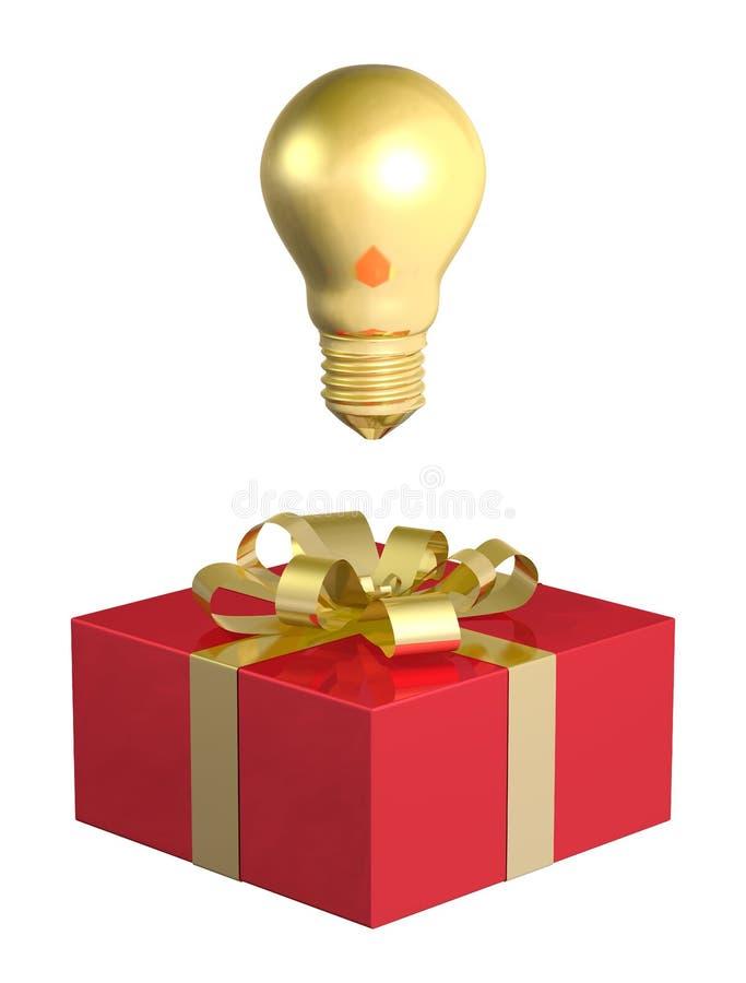 在红色礼物盒上的金黄电灯泡有金黄弓的 皇族释放例证