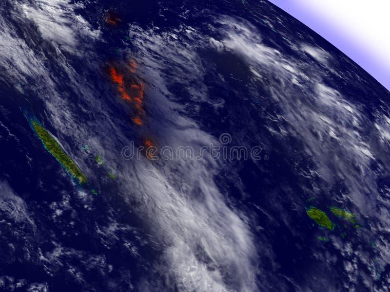 从在红色突出的空间的瓦努阿图 库存例证