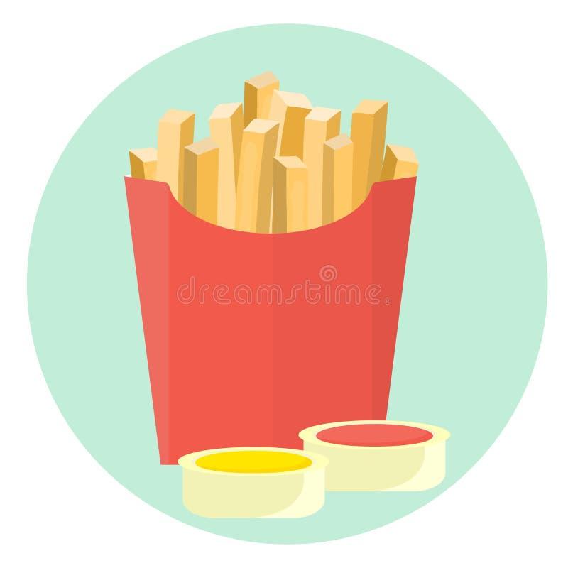 在红色箱子的平的传染媒介炸薯条土豆用番茄酱和芥末酱在浸洗盘 皇族释放例证