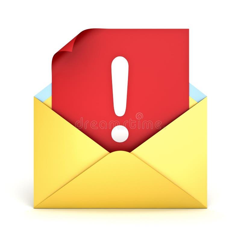 在红色纸的机敏的电子邮件概念惊叹号在白色背景隔绝的黄色信封 向量例证