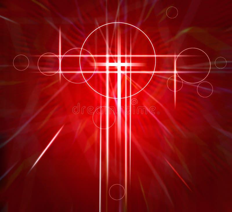 在红色纹理移动的快速的背景的抽象白色十字架 皇族释放例证