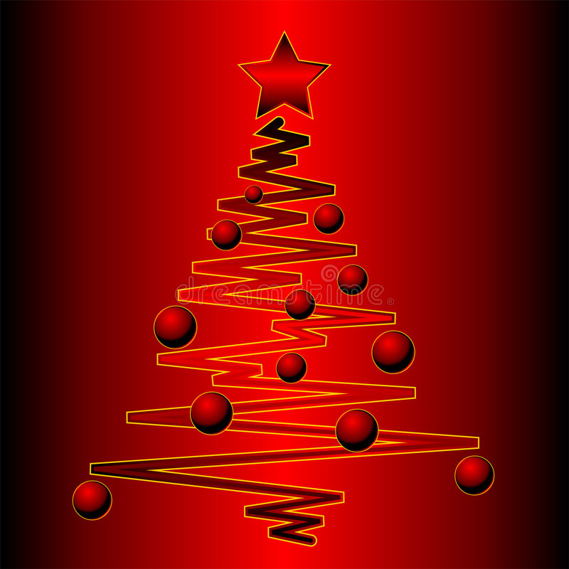 在红色结构树的圣诞节梯度 库存例证