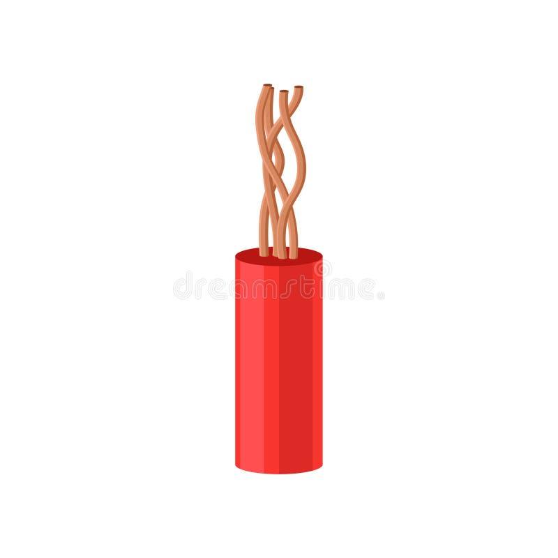 在红色绝缘材料传染媒介例证的铜电缆在白色背景 向量例证