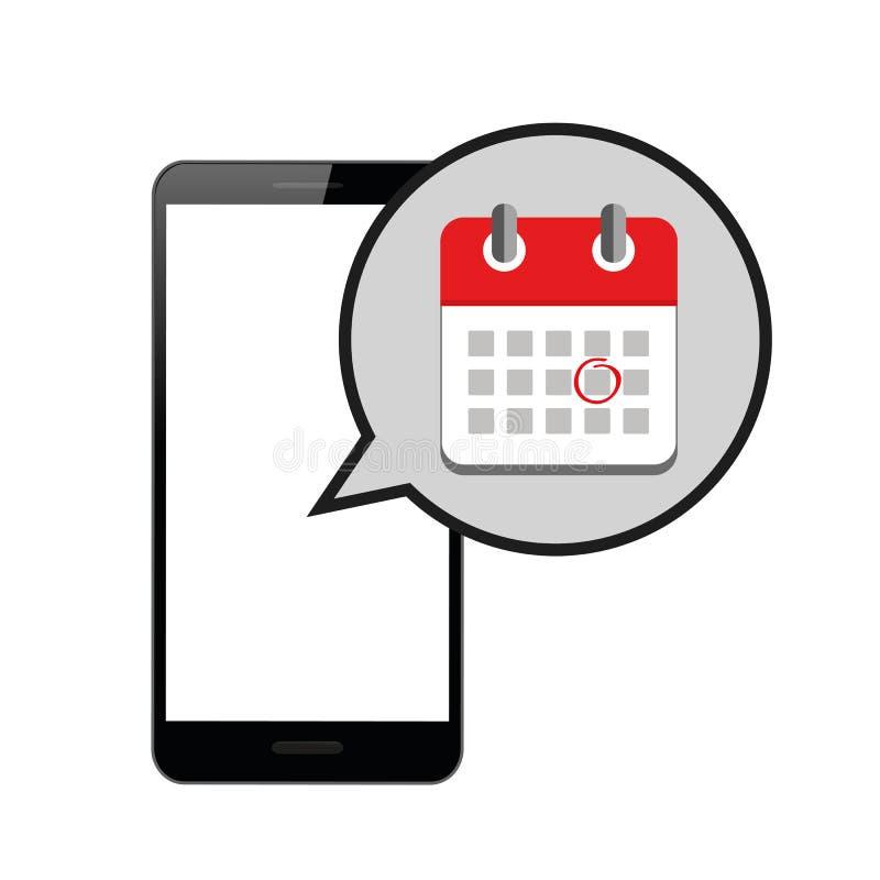 在红色网上日历的任命在智能手机 库存例证