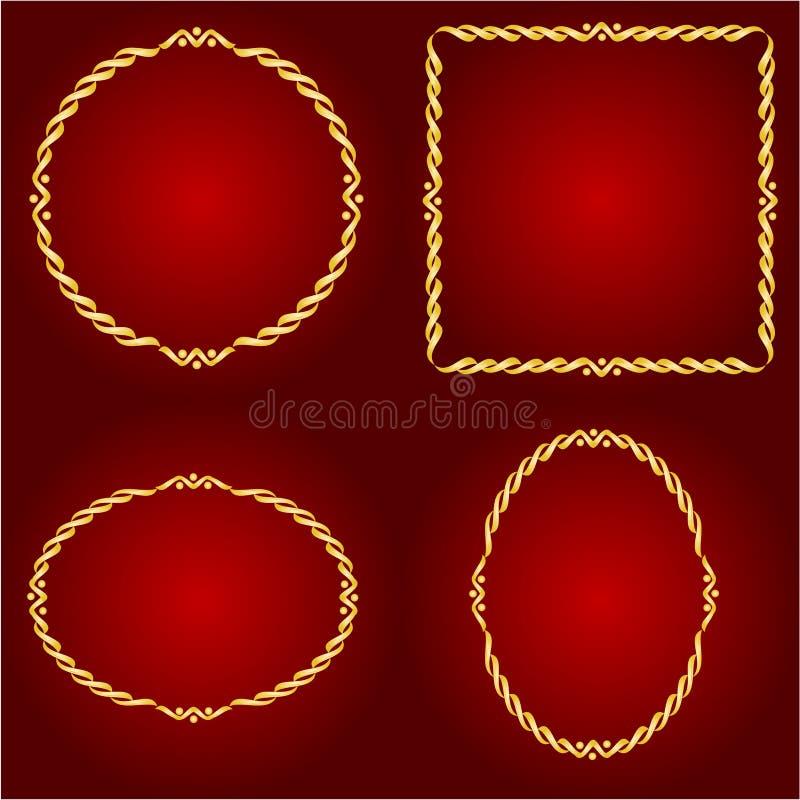 在红色背景传染媒介的金框架 向量例证