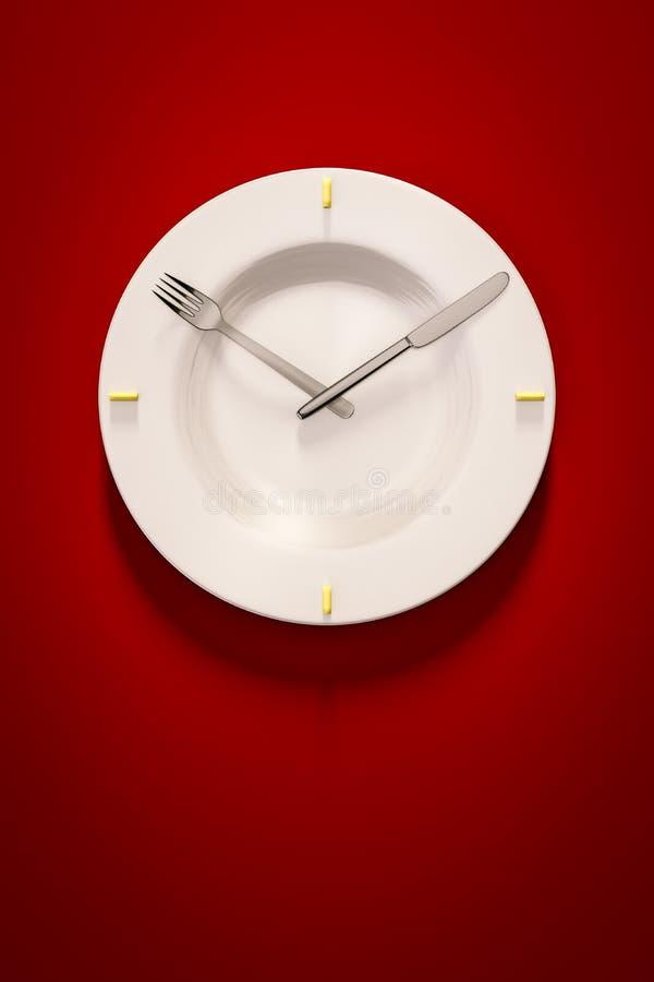 在红色背景的一个盘时钟 库存例证