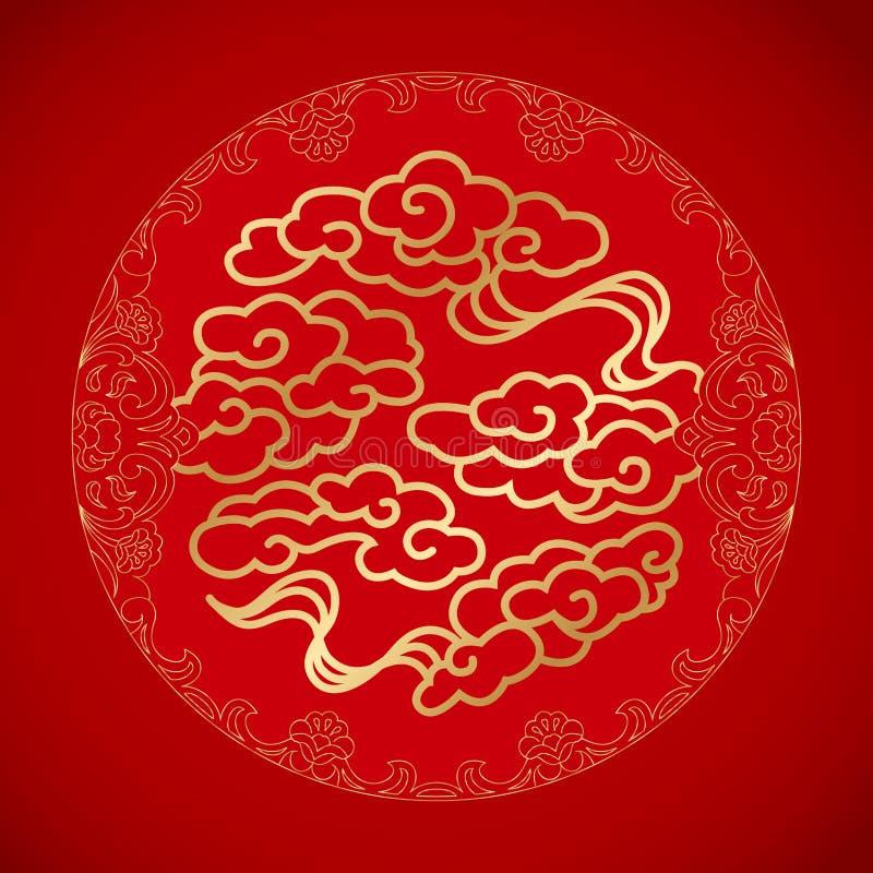 在红色背景的中国标志运气云彩 免版税库存照片