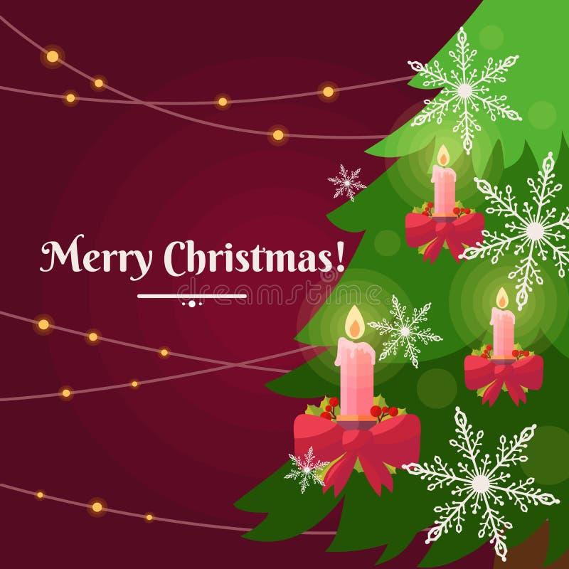 在红色背景的五颜六色的传染媒介例证与圣诞树 库存图片