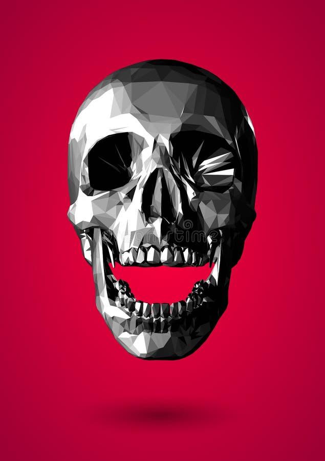 在红色背景的低多灰色极谱3D头骨 皇族释放例证