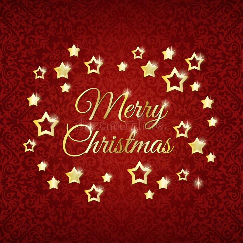 在红色背景的圣诞节星 向量例证
