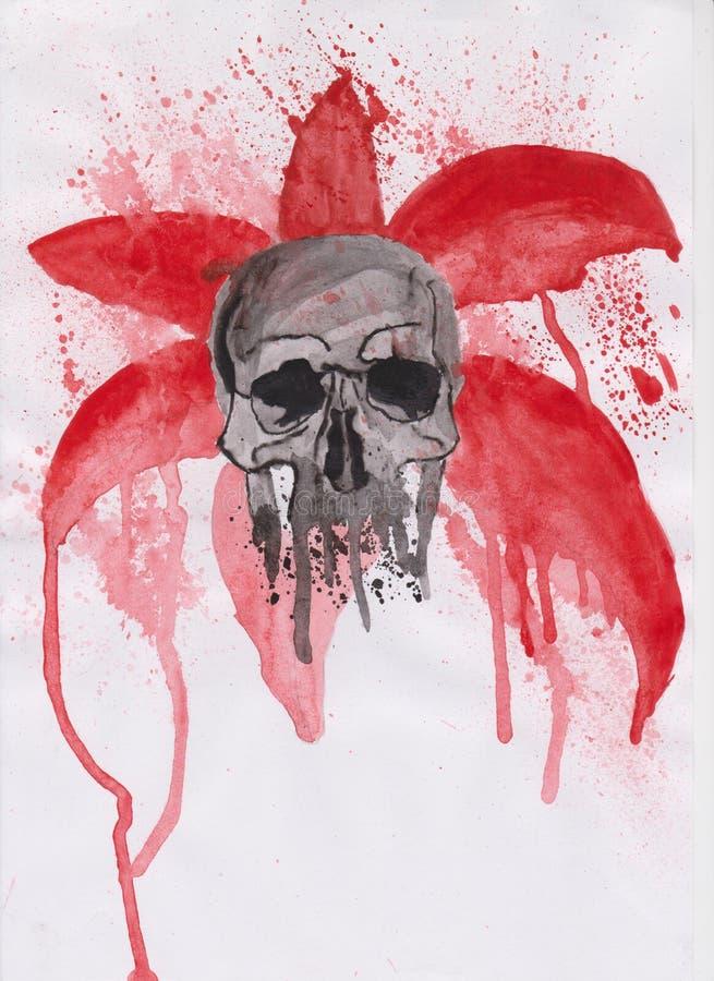 在红色背景的头骨 库存图片