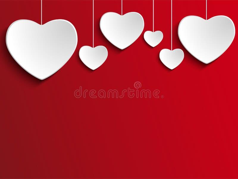 在红色背景的情人节心脏 向量例证