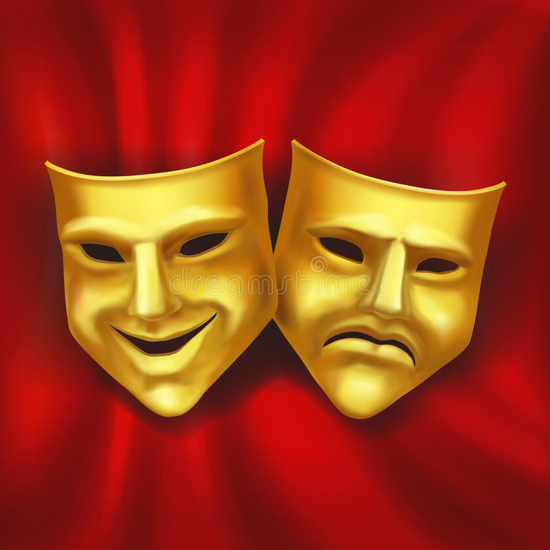 在红色背景的戏剧性金面具 传染媒介现实例证 向量例证