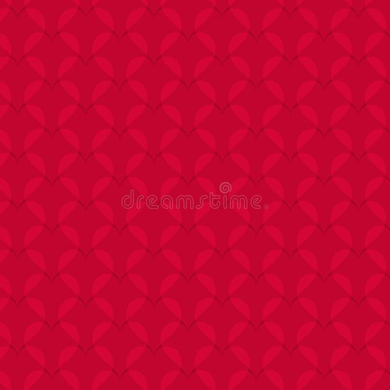 在红色背景的抽象心脏样式 库存例证