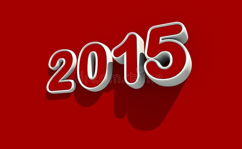 在红色背景的新年2015年商标 向量例证