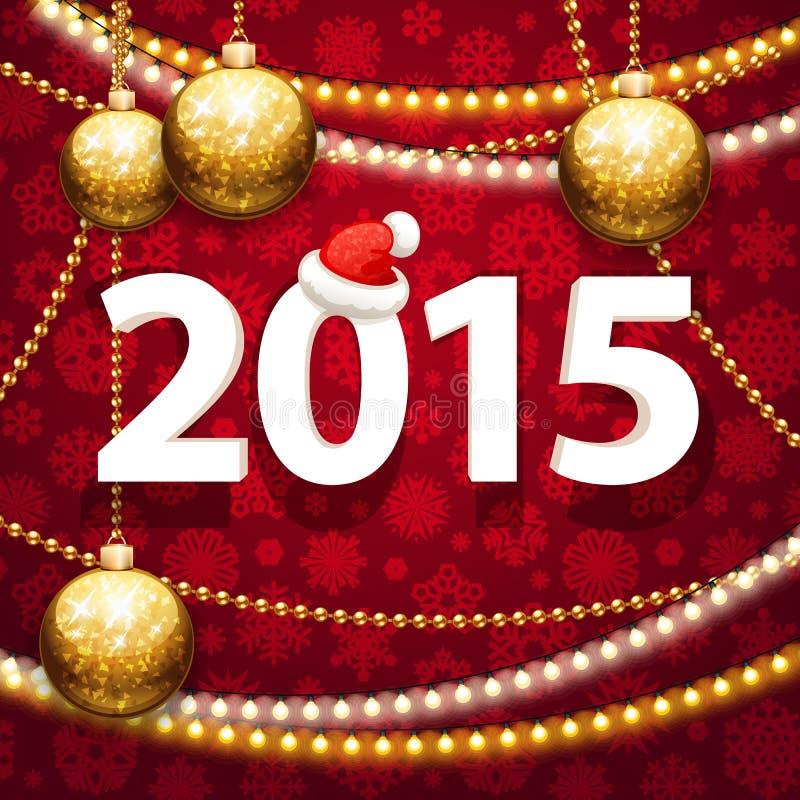 在红色背景的新年快乐2015年与 向量例证