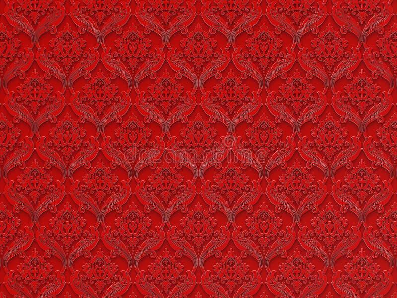 在红色背景的无缝的花卉样式 皇族释放例证