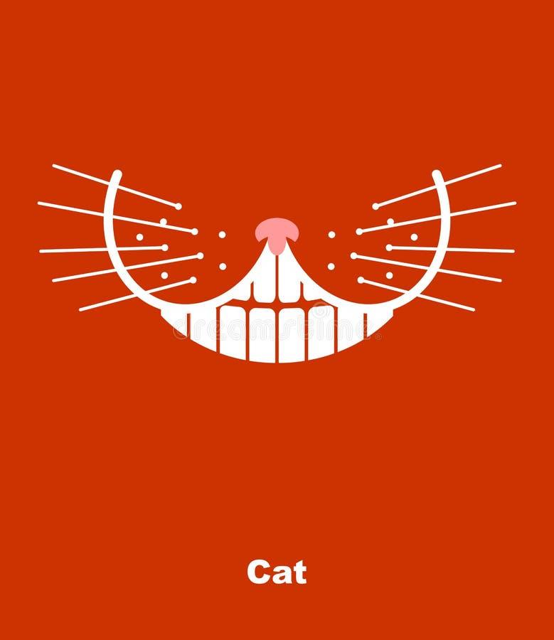 在红色背景的猫微笑 也corel凹道例证向量 牙和wh 向量例证