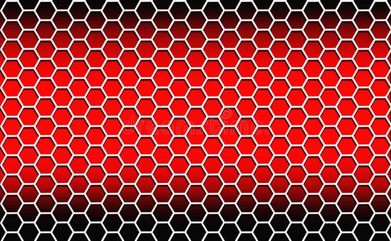 在红色背景的白色六角形 库存例证