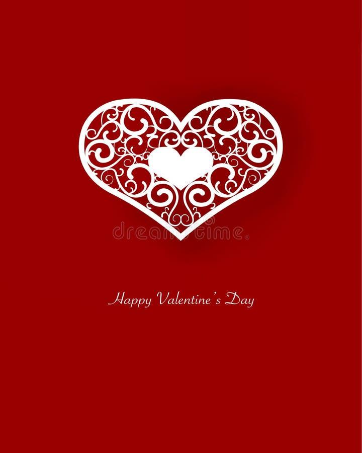 在红色背景的白色钢板蜡纸心脏 免版税库存图片