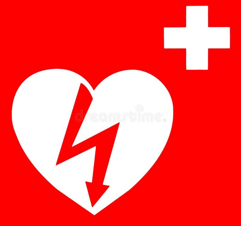 在红色背景的自动化的外在心脏去纤颤器标志 库存例证