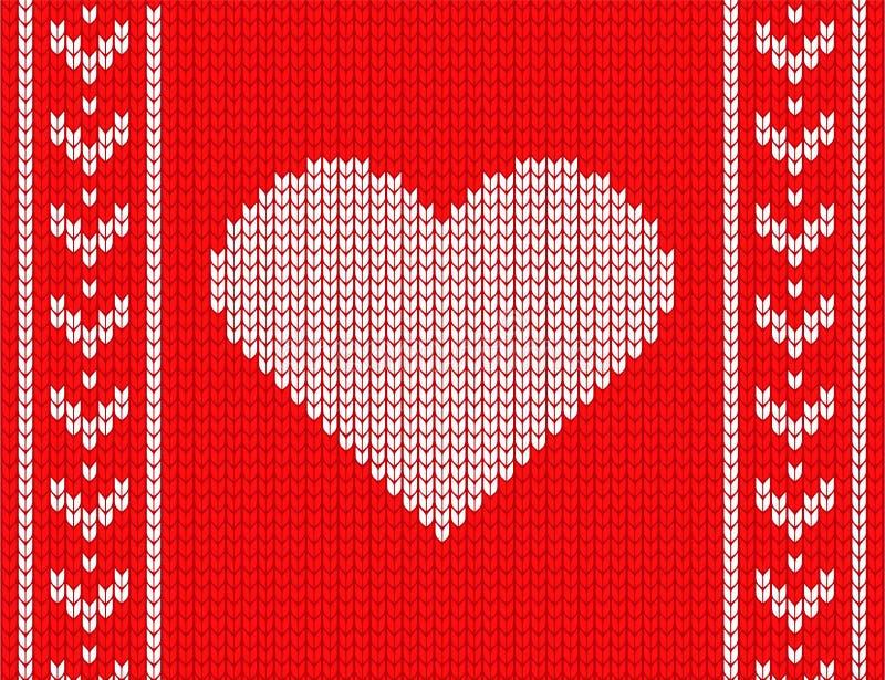 在红色背景的被编织的心脏 舒适毛线衣 向量例证