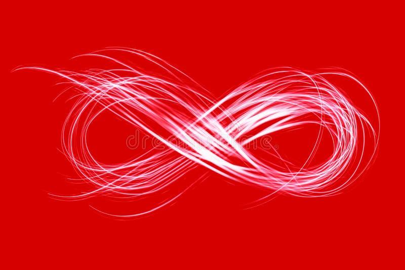 在红色背景的霓虹灯创造的无限标志 免版税库存照片