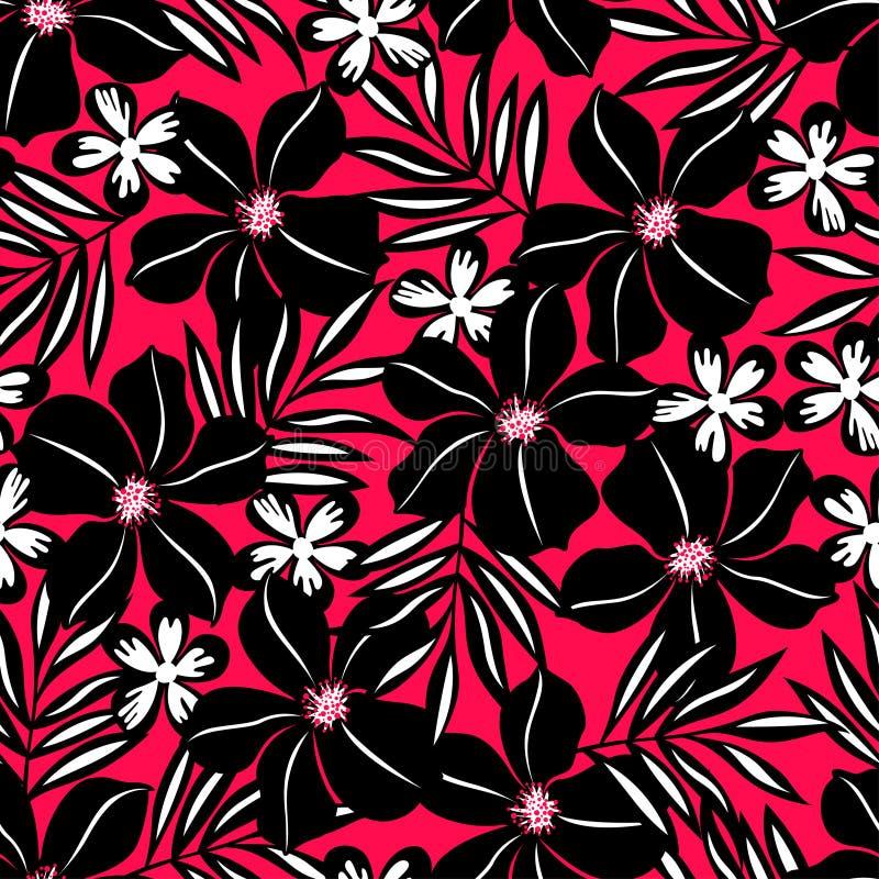 在红色背景的黑热带花。 库存例证