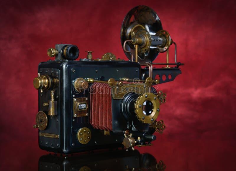 在红色背景的Steampunk 库存照片