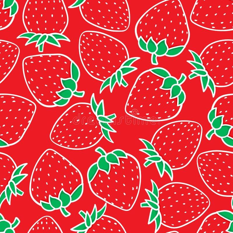 在红色背景隔绝的手图画草莓时尚剪影无缝的样式 传染媒介快活例证的假日 皇族释放例证