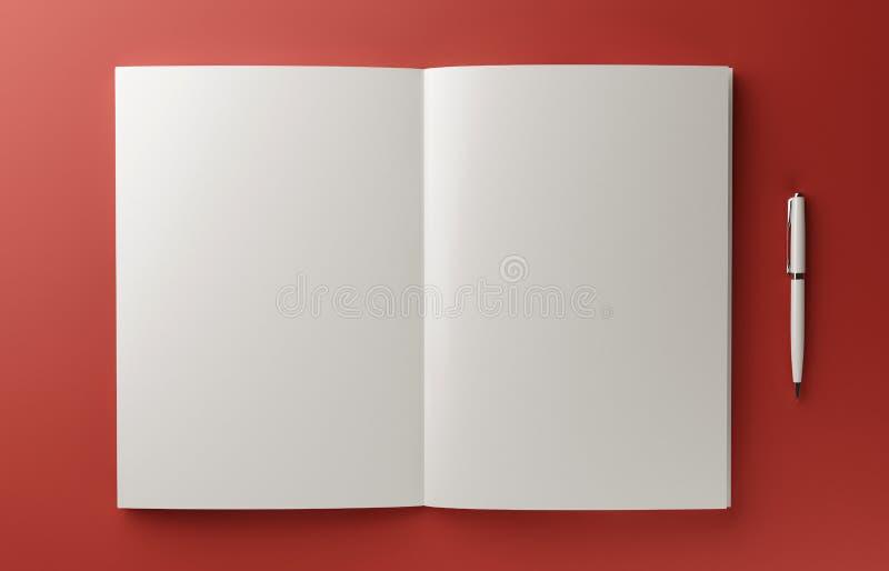 在红色背景隔绝的空白的照片拟真的书大模型, 3D例证 库存例证