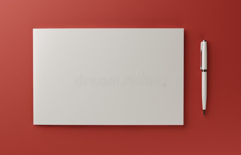 在红色背景隔绝的空白的照片拟真的小册子盖子大模型, 3D例证 向量例证