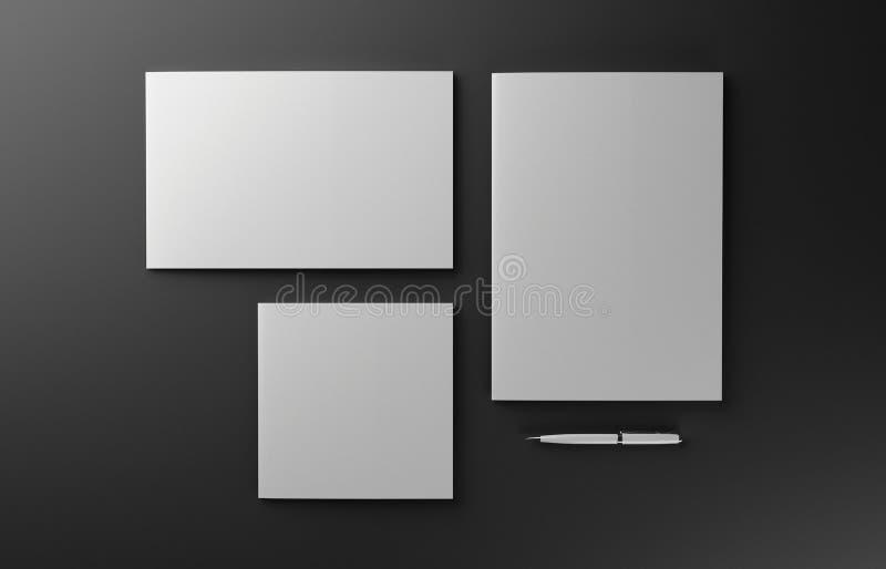 在红色背景隔绝的空白的照片拟真的小册子盖子大模型, 3D例证 库存例证