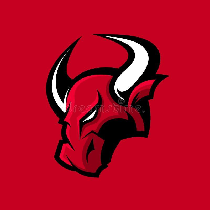 在红色背景隔绝的愤怒的公牛体育传染媒介商标概念 向量例证