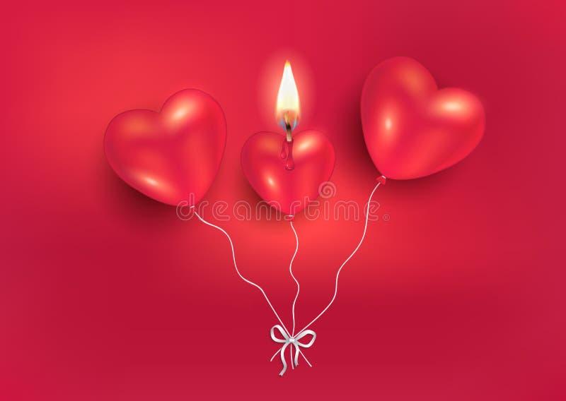 在红色背景,对情人节快乐的贺卡的燃烧的蜡烛心脏气球爱的 向量例证