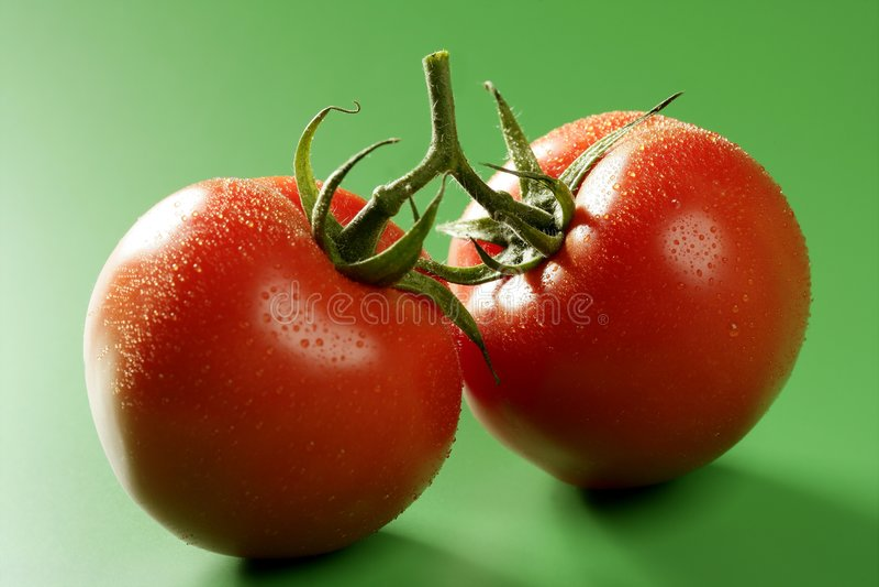 在红色蕃茄的背景绿色宏指令 库存图片