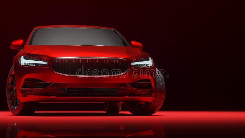 在红色表面无光泽的镀铬物影片包裹的汽车 3d翻译 库存图片